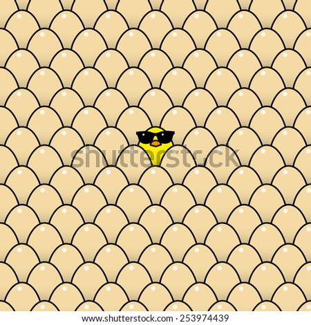 Single Cool Yellow Chick in Sunglasses Surrounded by Identical Brown Eggs - Raster - stock photo