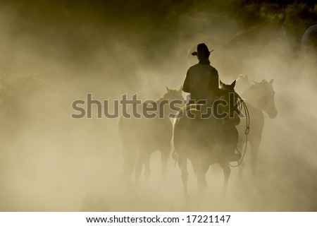 Single Cowboy with rope and horses in the dust - stock photo