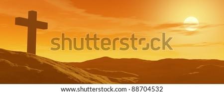 Single cross in the desert by sunset - stock photo