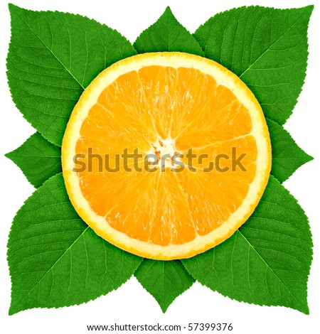Single cross section of orange with green leaf. Isolated on white background. Close-up. Studio photography.