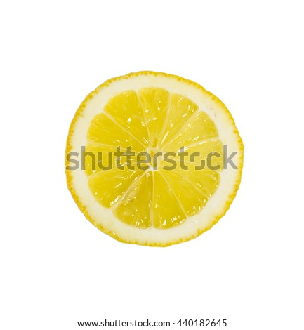 Single cross section of yellow lemon isolated on white background.