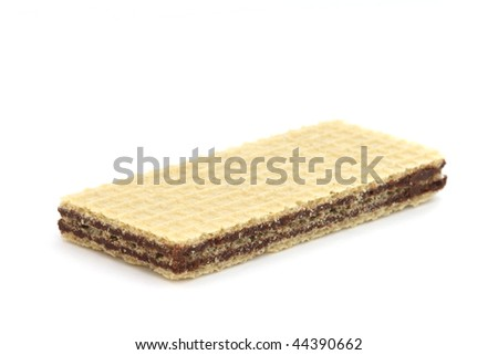 Single crunchy filled wafers with cacao cream - stock photo