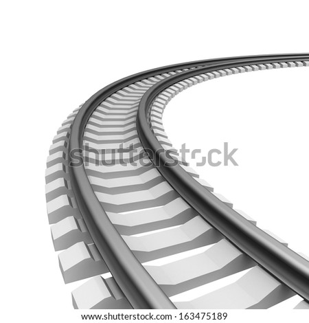 Single curved railroad track isolated - stock photo
