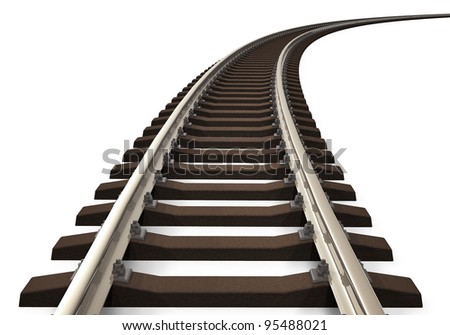 Single curved railroad track isolated on white background - stock photo