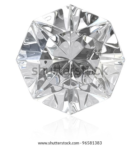 Single cut diamond isolated on white background