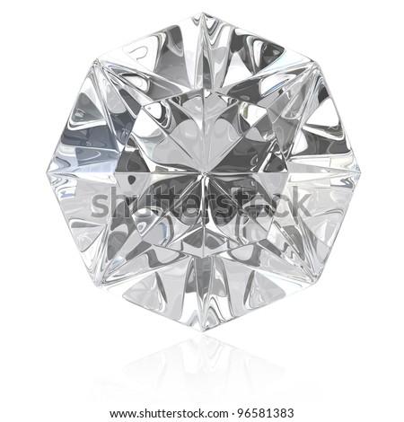 Single cut diamond isolated on white background - stock photo