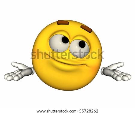 Single 3d Emoticon Isolated on White - stock photo