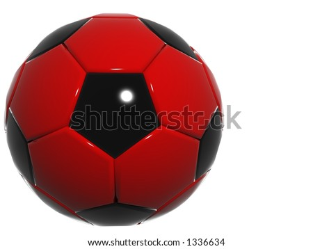single 3d football soccer red-black ball