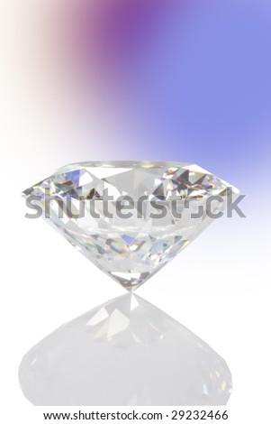 single diamond with reflexion - stock photo