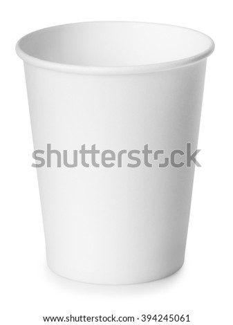 single disposable empty white paper cup isolated on white background with clipping path - stock photo