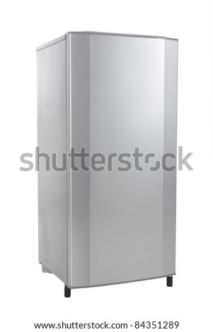 single door refrigerator isolated over white background - stock photo