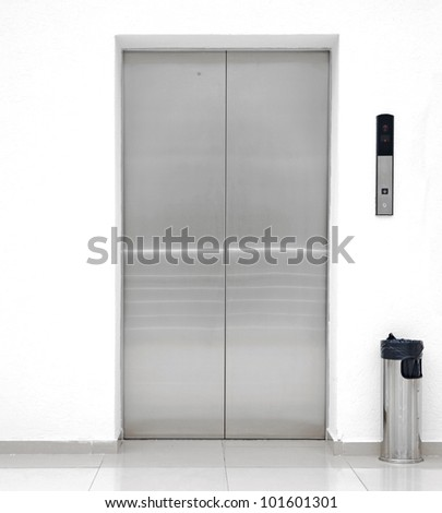 single elevator door - stock photo