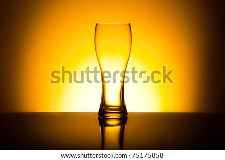 Single empty beer glass - stock photo