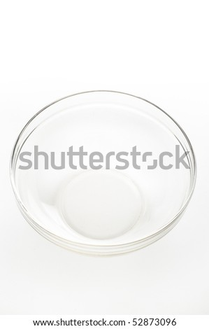single empty glass bowl on white background
