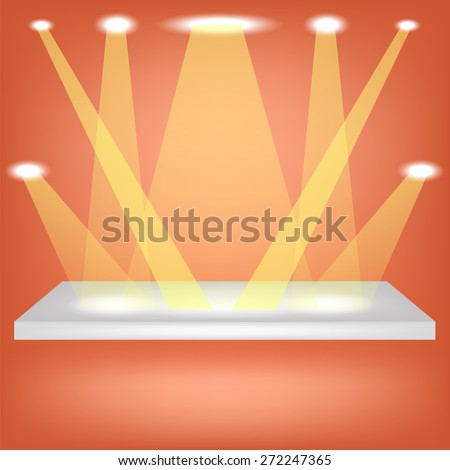 Single Empty Shelf  Isolated on Orange Background. - stock photo