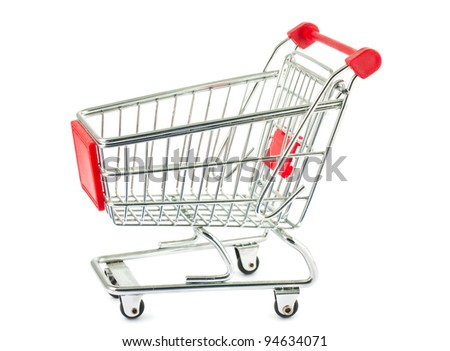 Single empty shopping cart isolated on white background