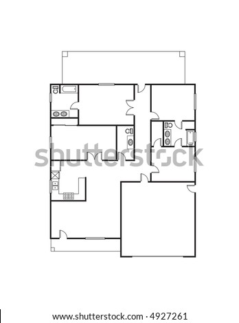Single Family House Floor Plan Stock Illustration 4927261 Shutterstock