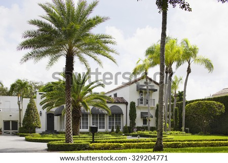 Single family house with palm trees