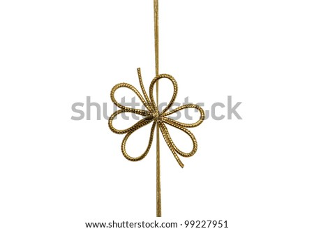 Single festive gold ribbon bow isolated on white background - stock photo