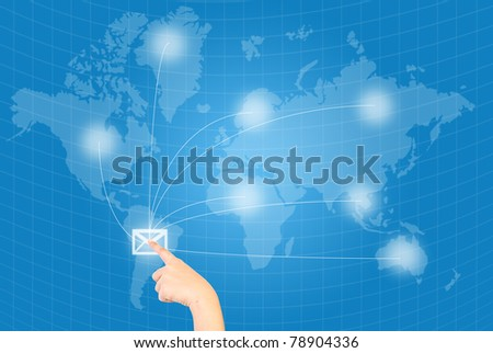 Single finger pressing mail in world wide communication.