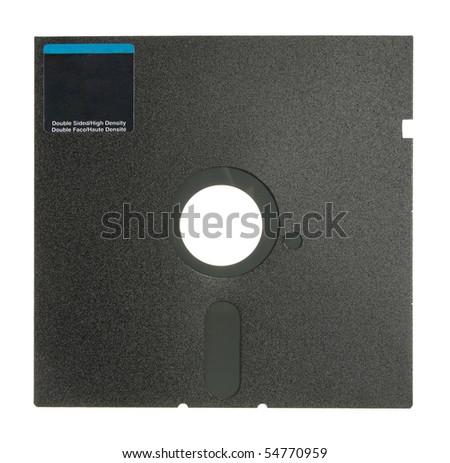 "Single 5.25"" Floppy Disk. Isolated on white. Close-up. Studio photography. - stock photo"