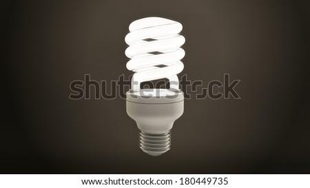 Single Fluorescent Light Bulb Over Dark Background - stock photo