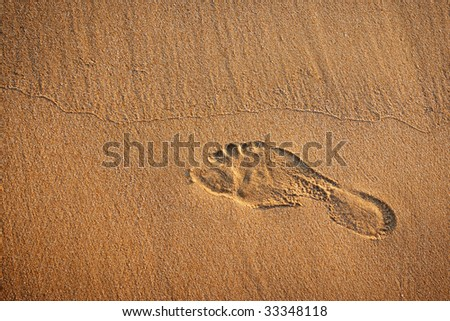 Single footprint in the wet sand of a beach - stock photo