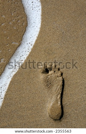Single footstep on golden sand beach with foamy wave - stock photo
