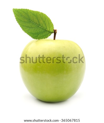 Single fresh apple isolated on white background