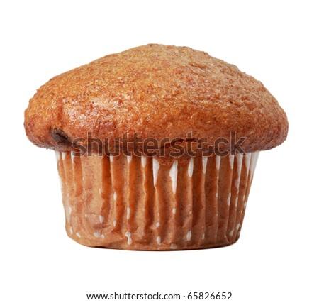 single fresh muffin isolated on white - stock photo