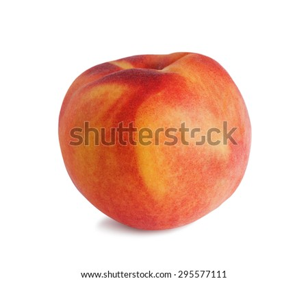 single fresh peach on white background  - stock photo