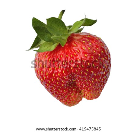 Single fresh red strawberry isolated on white background. This berry is an unusual shape and brings a smile and naughty Association - stock photo
