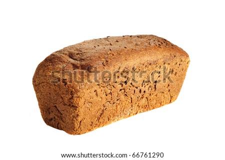 Single fresh rye bread on the white - stock photo