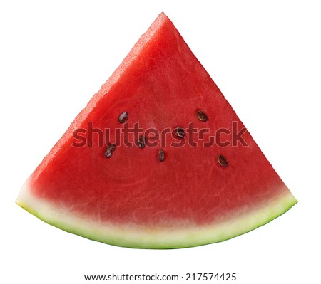 Single fresh watermelon piece isolated on white background as package design element - stock photo