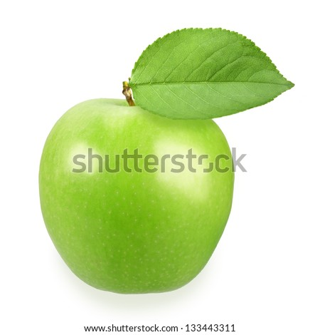 Single full green apple with one leaf on white background. Close-up. Studio photography. - stock photo