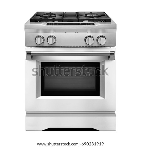 single gas range cooker isolated on white front view of stainless steel gas stove