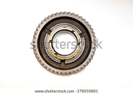Single gear isolated on white background. - stock photo