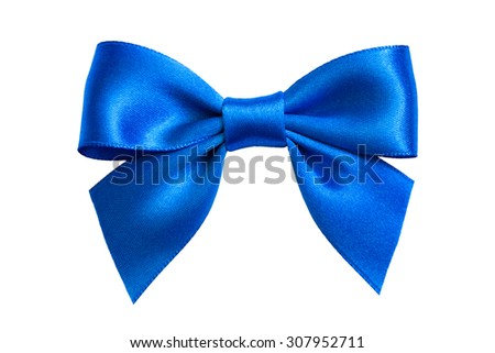 single gift bow, blue satin, isolated on white