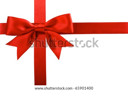 Single gift bow red color cross stock photo 65901400 shutterstock single gift bow of red color cross ribbon isolated on white negle Images