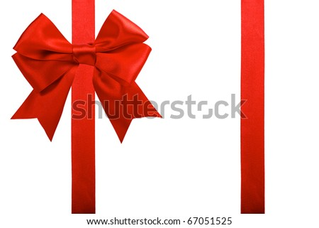 single gift bow, red satin, with two ribbons isolated on white - stock photo