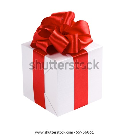 single gift box, silver color, with red bow and ribbon isolated on white background - stock photo