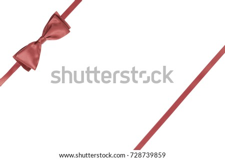Single gift ribbon bow coral color with parallel ribbon for presents on white background