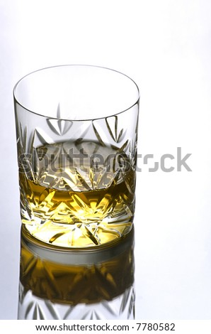 Single Glass of Whisky on a Reflective Surface with Copy Space
