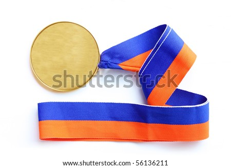 single gold medal isolated on white background - stock photo