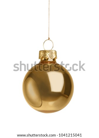 Single golden christmas ball isolated