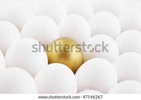 single golden egg in row - stock photo