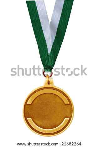 Single golden medal isolated on white background
