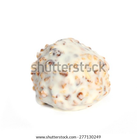 Single gourmet assorted white truffles hand made by chocolatier on white background - stock photo