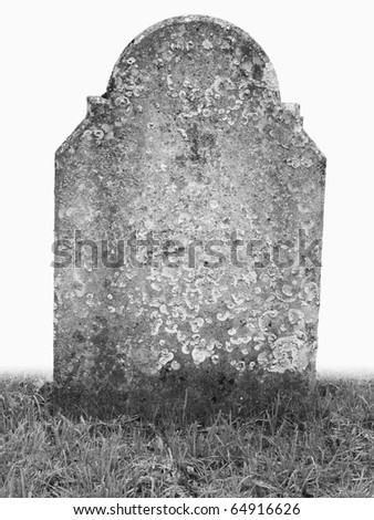 single grave stone on white back ground cut out - stock photo