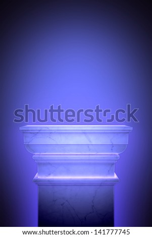 Single greek column isolated on blue
